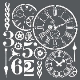 Stamperia Stencil 18x18 cm - Watches and numbers